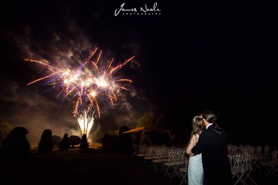 white lightning wedding fireworks